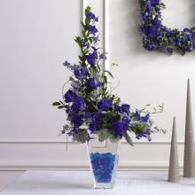 Glittered Blue-Dyed Rose Altar Arrangement