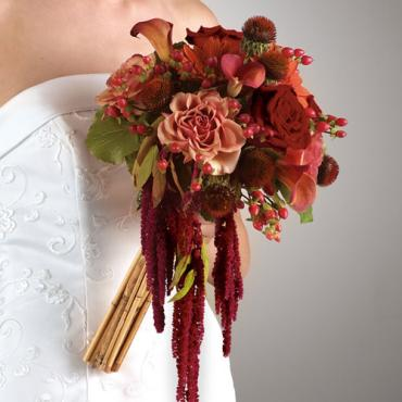 Bouquet with Hanging Amaranthus and Bamboo
